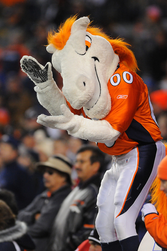 14 NOVEMBER 2010: Broncos mascot Miles cheers with fans  during a regular season National Football League game between the Kansas City Chiefs and the Denver Broncos at Invesco Field at Mile High in Denver, Colorado. The Broncos beat the Chiefs 49-29.