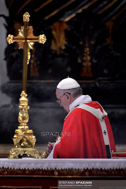 Pope Francis during  mass the solemnity of Saints Peter and Paul at St Peter's basilica in Vatican.June 29, 2015.