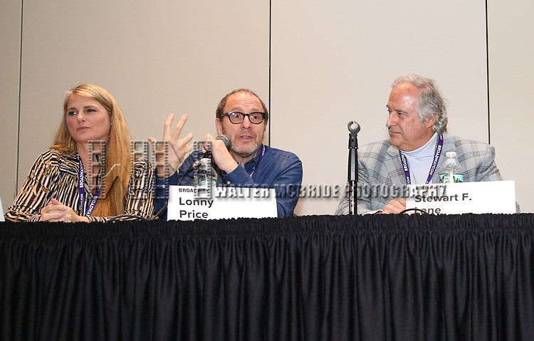 Bonnie Comley, Lonny Price, Stewart F. Lane attends the BroadwayHD panel discussion at Broadwaycom 2018 on January 26, 2018 at Jacob Javitz Center in New York City.