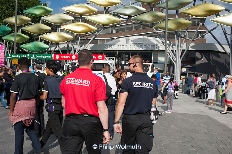 Steward and security guard employed by private contractor McKenzie Arnold Security on duty in Stratford during the London 2012 Olympic Games.