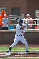 Buies Creek Astros outfielder Pat Porter (23) at bat during a game against the Winston-Salem Dash at Jim Perry Stadium on the campus of Campbell University on April 9, 2017 in Buies Creek, North Carolina. Buies Creek defeated Winston-Salem 2-0. (Robert Gurganus/Four Seam Images)