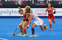 Match Action during the Women's Champions Trophy match between Team GB v Netherlands at Lee Valley Hockey Centre, Olympic Park, England on 19 June 2016. Photo by Steve McCarthy / PRiME Media Images.