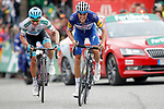 Enric Mas Nicolau (ESP) Quick-Step Floors out climbs Miguel Angel Lopez Moreno (COL) Astana Pro Team and wins Stage 20 of the La Vuelta 2018, running 97.3km from Andorra Escaldes-Engordany to Coll de la Gallina, Spain. 15th September 2018.                   <br /> Picture: Unipublic/Photogomezsport | Cyclefile<br /> <br /> <br /> All photos usage must carry mandatory copyright credit (© Cyclefile | Unipublic/Photogomezsport)