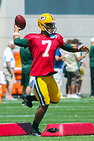 Green Bay Packers quarterback Brett Hundley (7) during a training camp practice on August 7, 2017 at Ray Nitschke Field in Green Bay, Wisconsin.  (Brad Krause/Krause Sports Photography)