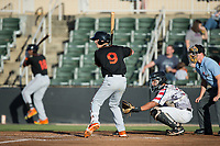 Chris Clare (9) of the Delmarva Shorebirds at bat against the Kannapolis Intimidators at Kannapolis Intimidators Stadium on June 30, 2017 in Kannapolis, North Carolina.  The Shorebirds defeated the Intimidators 6-4.  (Brian Westerholt/Four Seam Images)
