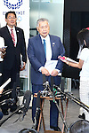 Yoshiro Mori, head of the Tokyo 2020 Organising Committee speaks to media after meeting with New Tokyo Governor Yuriko Koike in Tokyo, Japan on August 9, 2016. The two agreed that they will work closely to deliver a successful Tokyo Olympics and Paralympics in 2020. (Photo by AFLO SPORT)