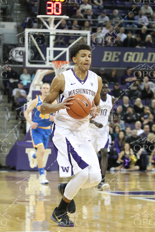 JAN 1, 2016:  Washington's Matisse Thybulle against UCLA.  Washington defeated #25 ranked UCLA 96-93 in double overtime at Alaska Airlines Arena in Seattle, WA.