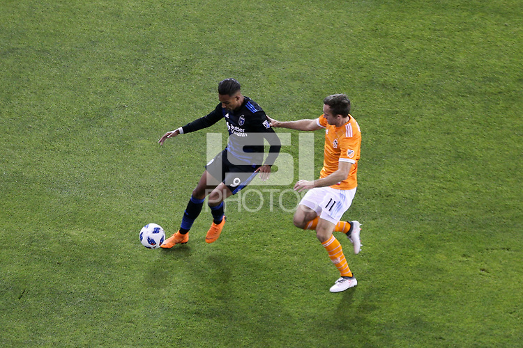 San Jose, CA - Saturday April 14, 2018: Danny Hoesen, Andrew Wenger during a Major League Soccer (MLS) match between the San Jose Earthquakes and the Houston Dynamo at Avaya Stadium.