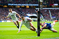 Jonny May of England scores his second try of the match. Guinness Six Nations match between England and France on February 10, 2019 at Twickenham Stadium in London, England. Photo by: Patrick Khachfe / Onside Images