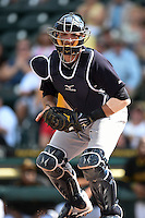 New York Yankees catcher Austin Romine (55) during a Spring Training game against the Pittsburgh Pirates on March 5, 2015 at McKechnie Field in Bradenton, Florida.  New York defeated Pittsburgh 2-1.  (Mike Janes/Four Seam Images)