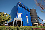 """Robin Perkins and Selbert Perkins Design's """"The Seat of Design"""" giant chair sculpture in front of Center Blue at the Pacific Design Center, West Hollywood, CA"""