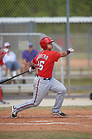 Washington Nationals Tres Barrera (26) follows through on a swing during a minor league Spring Training game against the St. Louis Cardinals on March 27, 2017 at the Roger Dean Stadium Complex in Jupiter, Florida.  (Mike Janes/Four Seam Images)