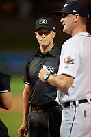 Umpire Jude Koury before a Florida State League game between the Tampa Tarpons and Lakeland Flying Tigers on April 5, 2019 at Publix Field at Joker Marchant Stadium in Lakeland, Florida.  Lakeland defeated Tampa 5-3.  (Mike Janes/Four Seam Images)