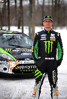 Jan. 26, 2010; Gladwin, MI, USA; Rally racer Ken Block poses for a portrait during a private test on a county road in northern Michigan. Mandatory Credit: Mark J. Rebilas
