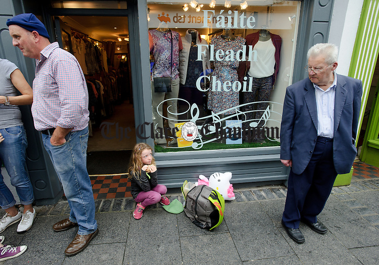 Lunch break for one during Fleadh Cheoil na hEireann in Ennis. Photograph by John Kelly.