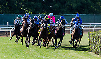 ELMONT, NY - JUNE 09: By The field for the Belmont Gold Cup Invitational Stakes races off the final turn at Belmont Park on June 9, 2017 in Elmont, New York. (Photo by Alex Evers/Eclipse Sportswire/Getty Images)