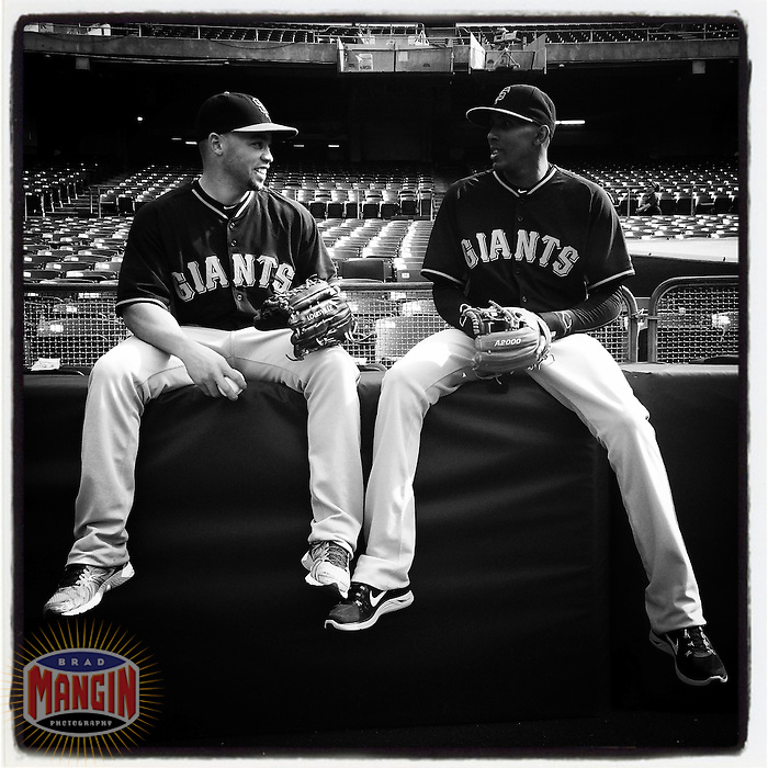 OAKLAND, CA - JULY 7: Instagram of Juan Perez and Joaquin Arias of the San Francisco Giants hanging out before a game against the Oakland Athletics at O.co Coliseum on July 7, 2014 in Oakland, California. Photo by Brad Mangin