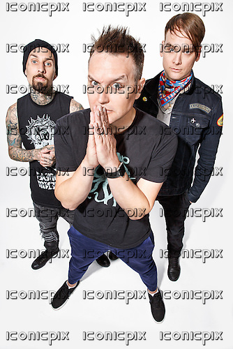 BLINK-182 - L-R: Travis Barker, Mark Hoppus, Matt Skiba - photosession in London UK - 23 May 2016.  Photo credit: Paul Harries/IconicPix ** NOT AVAILABLE FOR UK MUSIC MAGAZINES **
