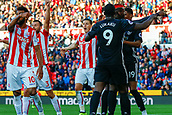 9th September 2017, bet365 Stadium, Stoke-on-Trent, England; EPL Premier League football, Stoke City versus Manchester United; Marcus Rashford of Manchester United celebrates scoring his teams first goal whilst the Stoke players appeal