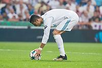 Real Madrid's Cristiano Ronaldo during UEFA Champions League match between Real Madrid and Apoel at Santiago Bernabeu Stadium in Madrid, Spain September 13, 2017.  *** Local Caption *** © pixathlon<br /> Contact: +49-40-22 63 02 60 , info@pixathlon.de