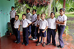 Central America, Costa Rica, Puerto Jiminez. Kids at Esculea Carbonera, a small school nearby Lapa Rios.