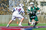 Los Angeles, CA 02/06/16 - Dustin Marinelli (Loyola Marymount #14) and Austin Lord (Cal Poly #1)in action during the Cal Poly SLO Mustangs vs Loyola Marymount Lions MCLA Men's Lacrosse game.  Cal Poly defeated LMU 24-5