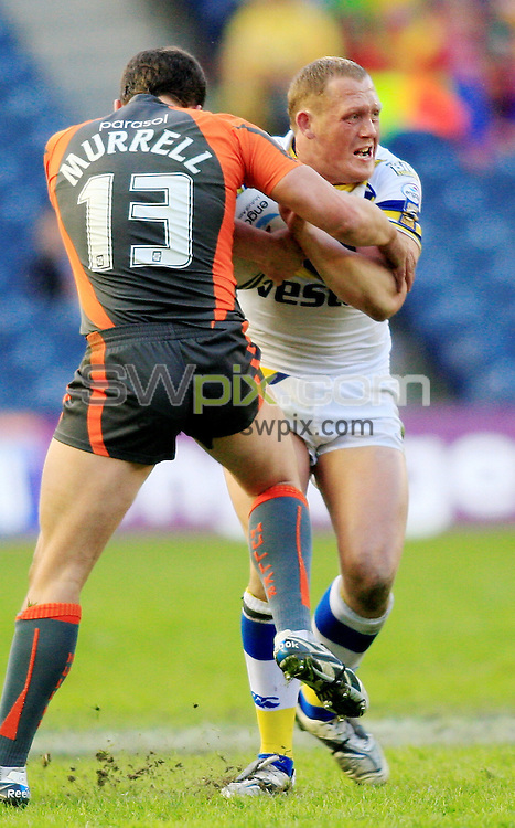 Pix: Chris Mangnall/SWpix.com, Rugby League Super League. Magic Weekend Murrayfield Edinburgh 03/05/09 Warrington Wolves v Hull KR....picture copyright>>Simon Wilkinson>>07811267 706>>....Warrington's Ben Westwood Tackled  by Hull's Scott Murrell