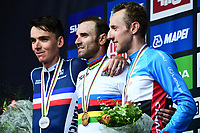 Picture by Alex Broadway/SWpix.com - 30/09/2018 - Cycling 2018 Road Cycling World Championships Innsbruck-Tirol, Austria - Men's Elite Road Race Podium -Alejandro Valverde of Spain, Romain Bardet of France and Michael Woods of Canada.