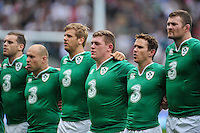 The Ireland team line up for the anthems. QBE International match between England and Ireland on September 5, 2015 at Twickenham Stadium in London, England. Photo by: Patrick Khachfe / Onside Images