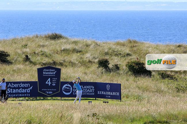 Bernd Wiesberger (AUT) on the 4th during Round 4 of the Aberdeen Standard Investments Scottish Open 2019 at The Renaissance Club, North Berwick, Scotland on Sunday 14th July 2019.<br /> Picture:  Thos Caffrey / Golffile<br /> <br /> All photos usage must carry mandatory copyright credit (© Golffile | Thos Caffrey)