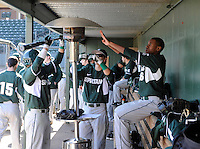 Michigan State Spartans, including starting pitcher David Garner (16), right, warm their hands in the dugout with a space heater on a 35-degree day in between innings of a game against the Northwestern Wildcats on Sunday, February 17, 2013, at Fluor Field at the West End in Greenville, South Carolina. (Tom Priddy/Four Seam Images)