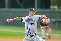 California Baptist University Lancers starting pitcher Justin Montgomery (22) in action against the Concordia Eagles at James W. Totman Stadium on March 31, 2018 in Riverside, California. The Lancers defeated the Eagles 6-2.  (Donn Parris/Four Seam Images)