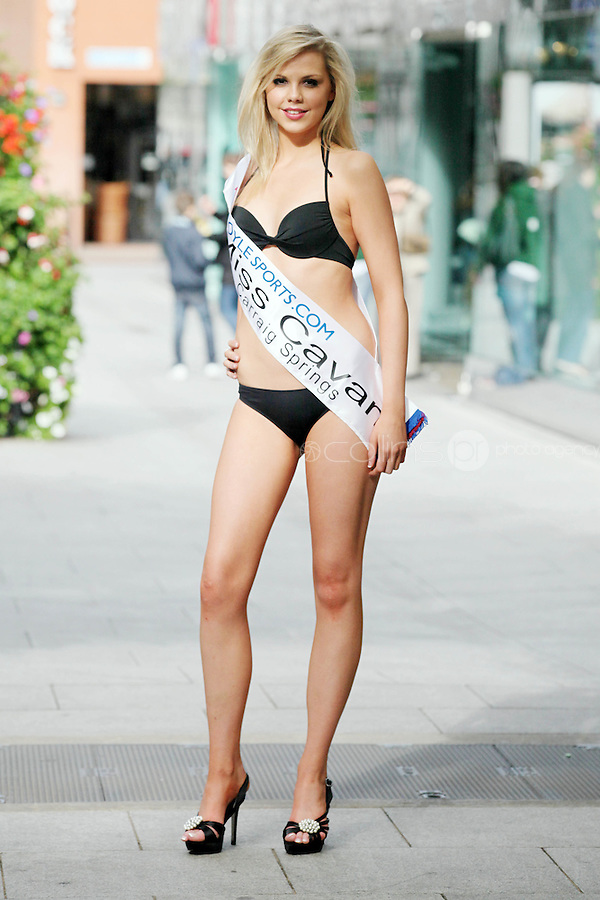 17/9/2010. Miss Ireland contestants. Miss CavanSarah Heaslip is pictured at St Stephens Green. the 35 Miss Ireland contestants officially unveiled in their swimwear and sashes for the 1st time at Stephen's Green Shopping Centre,  Dublin. Picture James Horan/Collins Photos