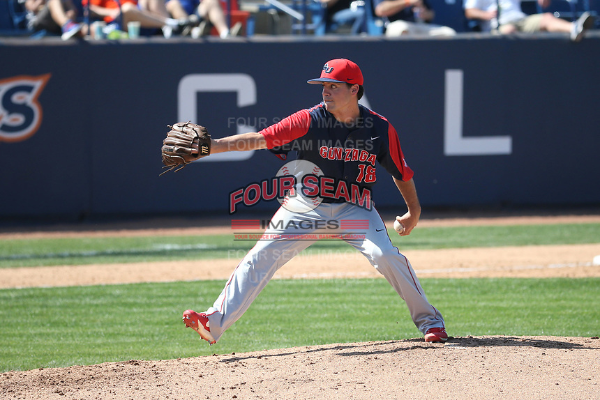 Calvin LeBrun (18) of the Gonzaga Bulldogs pitches against the Cal State Fullerton Titans at Goodwin Field on March 12, 2017 in Fullerton, California. Fullerton defeated Gonzaga, 3-2. (Larry Goren/Four Seam Images)