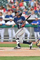 Mississippi Braves second baseman Travis Demeritte (11) swings at a pitch during a game against the Tennessee Smokies at Smokies Stadium on April 12, 2017 in Kodak, Tennessee. The Braves defeated the Smokies 6-2. (Tony Farlow/Four Seam Images)