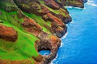 open-ceiling, lava tune cave, Na Pali coast, Kauai, Hawaii, USA, Pacific Ocean