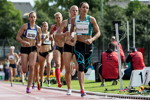 26.06.2016. Ratingen, Germany.  British heptathlete Jessica Ennis-Hill (R-L), Verena Preiner of Austria, Jennifer Oeser, Carolin Schaefer of Germany and Michelle Zeltner of Switzerland in action during the 800-metre race at the Combined Events Challenge meeting in Ratingen, Germany, 26 June 2016.