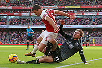 Arsenal's Sokratis Papastathopoulos is tackled by Burnley's Jeff Hendrick<br /> <br /> Photographer David Shipman/CameraSport<br /> <br /> The Premier League - Arsenal v Burnley - Saturday 22nd December 2018 - The Emirates - London<br /> <br /> World Copyright © 2018 CameraSport. All rights reserved. 43 Linden Ave. Countesthorpe. Leicester. England. LE8 5PG - Tel: +44 (0) 116 277 4147 - admin@camerasport.com - www.camerasport.com