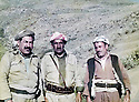 Iraq 1983      <br /> In Qandil, from left to right, Failak Eddin Kakai, Mustafa Nerwey and Najmeddin Yousefi  <br /> Irak 1983 <br /> A Qandil, de gauche a droite, Failak Eddin Kakai, Mustafa Nerwey et Najmeddin Yousefi