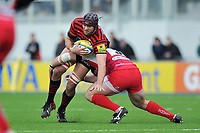 Alistair Hargreaves is tackled in possession. Aviva Premiership match, between Saracens and London Welsh on March 3, 2013 at Allianz Park in London, England. Photo by: Patrick Khachfe / Onside Images