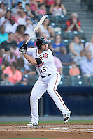 Devin Harris (15) of the Richmond Flying Squirrels at bat against the Bowie Baysox at The Diamond on May 23, 2015 in Richmond, Virginia.  The Baysox defeated the Flying Squirrels 3-2.  (Brian Westerholt/Four Seam Images)