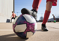 "NWA Democrat-Gazette/CHARLIE KAIJO A youth soccer player practices a skill, Monday, November 25, 2019 during a two-day soccer skills camp at The Strike Zone Training Academy in Rogers.<br /> <br /> Coaches led their second annual Thanksgiving, skills camp to teach kids soccer skills like first touch (how to receive the ball) and finishing (taking a quick, powerful shot). ""It's not something focused on enough in youth soccer,"" said Courtney Heinlich, owner of Strike Zone Training Academy."