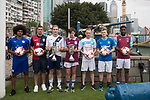 From Left to Right:  Leicester City's Hamza Dewan Choudhury, Cagliari Calcio's Vasco Oliveira, Causeway Bay's Andrew Wylde, Aston Villa's Harry McKirdy, Olympique Marseille's Lucas Genty, Glasgow Rangers' Max Ambrose, and West Ham United's Moses Makasi pose for a photograph near the Noon Day Gun to celebrate the launch of the HKFC Citi Soccer Sevens 2017 on 25 May 2017 in Causeway Bay, Hong Kong, China. Photo by Chris Wong / Power Sport Images