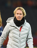 20181005 - LEUVEN , BELGIUM : Switzerland's  coach Martina Voss-Tecklenberg pictured during the female soccer game between the Belgian Red Flames and Switzerland , the first leg in the semi finals play offs for qualification for the World Championship in France 2019, Friday 5 th october 2018 at OHL Stadion Den Dreef in Leuven , Belgium. PHOTO SPORTPIX.BE | DIRK VUYLSTEKE