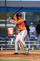 Baltimore Orioles Tristan Graham (43) at bat during an Instructional League game against the New York Yankees on September 23, 2017 at the Yankees Minor League Complex in Tampa, Florida.  (Mike Janes/Four Seam Images)