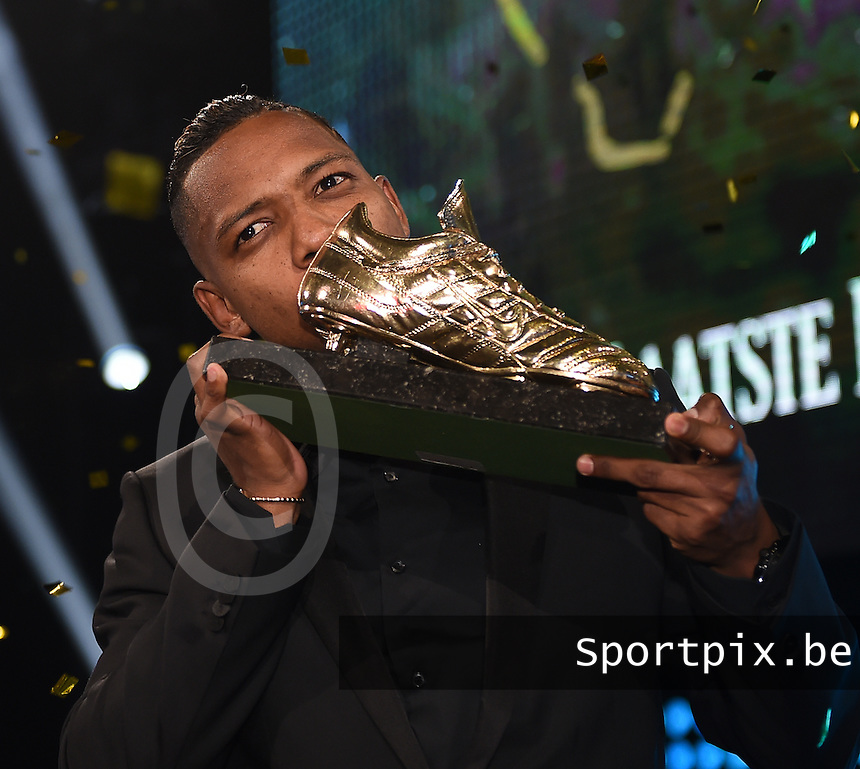 20170208 – LINT ,  BELGIUM : winner of the Golden Shoe 2017 JOSE IZQUIERDO pictured during the  63nd men edition of the Golden Shoe award ceremony and 1st Women's edition, Wednesday 8 February 2017, in Lint AED studio. The Golden Shoe (Gouden Schoen / Soulier d'Or) is an award for the best soccer player of the Belgian Jupiler Pro League championship during the year 2016. The female edition is a first in Belgium.  PHOTO DIRK VUYLSTEKE | Sportpix.be