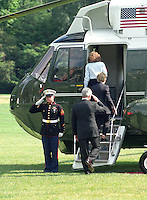 28 October 2016 - File Photo: United States President Bill Clinton salutes the Marine Guard as he and first lady Hillary Rodham Clinton and Chelsea Clinton board Marine 1 on the South Lawn of the White House on August 19, 1999.  The Clintons are to vacation for 2 weeks in Martha's Vineyard.  From top to bottom: Chelsea Clinton, Mrs. Clinton, President Clinton. On Tuesday, August 17, 1999, the President testified before the Grand Jury on his involvement in the Monica Lewinsky scandal and subsequently made a nationally televised statement admitting he had an inappropriate relationship with Ms. Lewinsky. Photo Credit: Ron Sachs/CNP/AdMedia