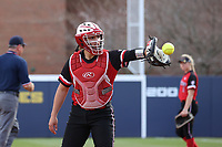 GREENSBORO, NC - MARCH 11: Bianca Barone #5 of Northern Illinois University during a game between Northern Illinois and UNC Greensboro at UNCG Softball Stadium on March 11, 2020 in Greensboro, North Carolina.