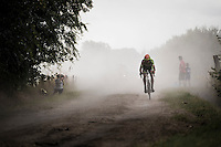 2016 CX World Champion Wout Van Aert (BEL/Crelan-Vastgoedservice) forces a solo break and is on his way to winning this spectacular edition of the 91st Schaal Sels 2016, a 'road race' which has 34 km of cobbels & 33 km of dirt roads.