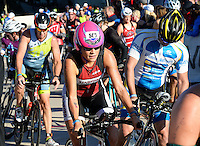 Mountain View, California's Amy Petermann heads down the ramp of Monona Terrace to begin the biking leg of the 2015 Ironman competition on Sunday, September 13, 2015 in Madison, Wisconsin